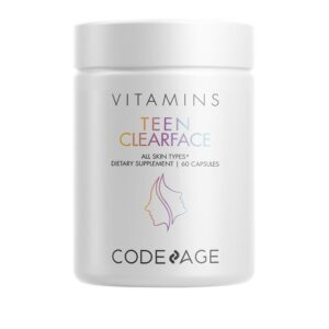 Codeage - Teen Clearface Adolescent Face Skin & Pimples Vitamins A C D3 E - 60 Capsules